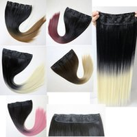 Wholesale ponytails online - Synthetic hair Ponytail clip in Ponytails hair inch g Ombre two tone color straight hair extensions