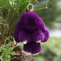 Wholesale Toy Car Backpack - 2016 New Hot Rex Rabbit Key chain 23 Colors Fur Car Backpack Rabbit Doll Pendant Cute Fashion Toys Wallet Handbag Pendant 18cm