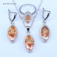Wholesale Morganite Crystal - L&B Pretty Wedding Jewelry Sets For Women Silver Color Orange Morganite Zircon Jewelry Sets Pendant Earrings Rings Neckalce