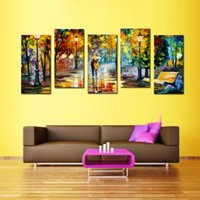 Wholesale Art Abstract Painting Oil Lover - 5 Panels Lover Rain Street Tree Lamp Landscape Oil Painting Print On Canvas Wall Art Wall Pictures For Home Decor with Wooden Framed