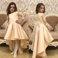 Wholesale Long Pageant Gowns Size 3t - Ivory High Low Flower Girl Dresses Jewel Neck Lace Appliqued Tulle Knee Length Pageant Gowns Long Sleeves Plus Size Unique Birthday Dress
