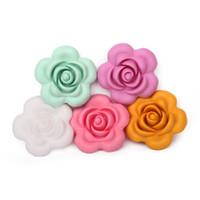 colar do silicone do bfa fda venda por atacado-Flor Silicone Beads Grande 40 milímetros Food Grade BPA livre FDA Aprovado soltos Silicone Beads para colar dentição do bebê mastigável Jóias