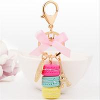 Wholesale Acrylic Cake Holder - New Creative Macarons Cake Keychains Fashion Key Chains Car Keyrings Accessories Women Bag Charm Pendant Alloy Key Rings Holder Wholesale