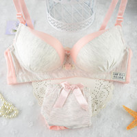Wholesale Cute Japanese Bras - Wholesale-Japanese cute girl bra developmental students no rims bra thin section full of cotton underwear sets 8929 #
