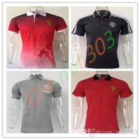 Wholesale Adult Sports Shorts - 2017 2018 POGBA Man Utd LUKAKU 17 18 United Rooney Rashford MATA Mkhitaryan football Polos Short Sleeve adult Sport training shirt