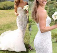 Wholesale Elegant Bridal Dress Wedding Wear - Elegant Country Stylish Mermaid Lace Wedding Dresses 2018 Boho Sweetheart Lace Backless Court Train Beach Party Wear 2017 Bridal Gowns