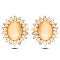 Wholesale Insert Stud Earrings - EuropeandAmericafashion 2016 micro-inserts crystal pearl opal studs earrings real gold plated allergy free earrings women fashion jewelry