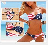 Wholesale American Flag Swim Suits - Retail 2016 New Hot Sale Lady American Flag Bikini Swimsuit Women Sexy 2pcs Set Bathing Suits Swimwear Women's Swimming Clothing