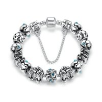 Wholesale Vintage Lake - Vintage Silver Beaded Charm Bracelets with Royal Carriage Charms & Brilliant Lake Blue Cubic Zirconia DIY Snake Chain Bangle Bracelets BL238