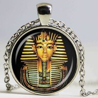 Wholesale Egypt Charms - Egyptian Pharaoh Glass Dome Pendant Necklace Ancient Egypt Tutankhamun Historical Jewelry Vintage Charm Gift