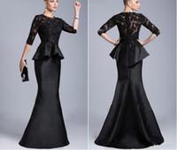 boncuklu siyah akşam elbisesi resmi toptan satış-2019 Yeni Sheer Ekip Yüksek Boyun Yarım Uzun Kollu Aplikler Dantel Boncuklu Peplum Kılıf Örgün Elbiseler Vestido Formales Siyah Abiye giyim