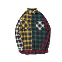 Wholesale Button Up Shirt Men - Color Block Patchwork Plaid Long Sleeve Shirts Men Hip Hop Casual Pocket Button Up Shirts Coats Fashion Streetwear
