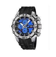 Wholesale Band Promotions - Promotion 2013 new F16600-4 F16600 man in Sky blue and white dial chronograph watch rubber band original box + free shipping+logo
