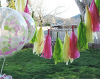 Wholesale Tissue Paper Garland Wholesale - High quality Tissue Paper Tassels Party Wedding Decor Garland Buntings Pompom Garland DIY Outdoor Party Decorations 500pcs