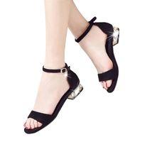 Wholesale Ladies Low Heel Rhinestone Sandals - Women Sandals 2016 Summer Sandals Open Toe Beach sandals Women Low Heels Ladies Rhinestone Sandals Large Size 34-40 071001