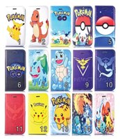Wholesale Soft Leather 4s Card - Pikachu Cartoon Leather Wallet Pouch For Iphone 7 Plus I7 6 6S 5 5S 4 4G 4S Poke Go Pocket Monsters Stand ID Card TPU Soft Phone Cover 50pcs