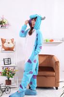 Wholesale Bull Costumes - Wholesale-Sullivan Bull Blue Onesies Unisex Sleepsuit Adult Pajamas Cosplay Costumes Animal Onesie Sleepwear Jumpsuit For Male Famale