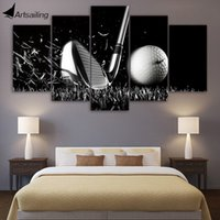 Canvas Paintings Printed 5 Pieces Golf Still life preto e branco Wall Art Canvas Pictures para sala de decoração de casa CU-1408B