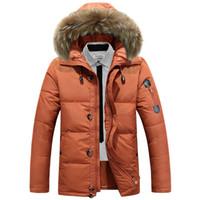 Wholesale Men S Goose Down Parka - Wholesale- New Fashion Winter Coat Men Thickening Casual Down Jacket Windproof Breathable Simple White Goose Down Coat parkas men