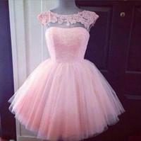 lindos vestidos cortos para la graduación al por mayor-2016 lindos cortos formales vestidos de baile de color rosa cuello alto ver a través de Junior Girls Graduation Party Dresses Prom Homecoming Vestidos