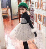 Wholesale Long Warm Sweaters For Kids - Girls lace dresses knit long sleeve sweater dress for children polka dots princess dress winter kids velvet turtleneck warmer clothing R0688
