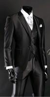 ingrosso vestito nero vestito lucido del girocollo-Nuovo arrivo Groomsmen Notch Risvolto Smoking dello sposo Shiny Nero Abiti da uomo Matrimonio / Prom. Best Man Blazer (Giacca + Pantaloni + Vest + Tie) A60