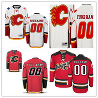 Wholesale Flame Numbers - Custom Calgary Flames Mens Womens Youth Kids Third White Red Personalized Any Name Any Number Stitched Hockey Jerseys S-4XL