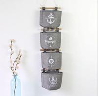 Wholesale Hanging Basket Racks - Wall Sundry Navy Fabric Cotton Pocket Hanging Holder Storage Bag Rack Cosmetic organizer Wall Hanging Storage Bags basket box KKA2831