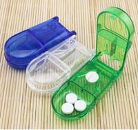 Wholesale Medicine Pill Cutter - 100pcs Medicine Device Splitter Cutting Medicine Box Solid Fixed blade cutter creative Pill storage Cases Cell Pill Case Box Free Shipping