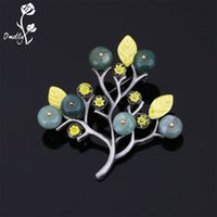 New Arrival Vintage Rhinestone Broches Pins Pearl Semi Gemstone Tree Wedding Bouquet Broches Pin Atacado Natal broches Gift