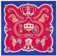 Wholesale horse silk scarf square - Lady's Royal chariot horses 100% mulberry silk diagonal 90*90cm square scarf #58