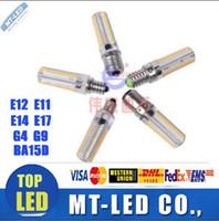 g9 led ampoule blanc chaud 9w achat en gros de-Lampe LED E11 / E12 / E14 / E17 / G4 / G9 / BA15D Maïs léger AC 220V 110V 120V 7W 12W 15w SMD3014 Ampoule LED 360 degrés 110V / 220v