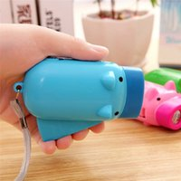 Wholesale Led Mini Pig Keychain Flashlight - Piggy Hand Pressing Flashlight Pig Hand Pressure Self-generating Mini Flashlight Portable Lights Hand Pressing Power For Hiking