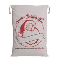 Wholesale Striped Canvas Bag Drawstring - 12 Styles Christmas Santa Bag Large Canvas Gift Bags 12 Styles optional Cartoon Drawstring Santa Claus Sack Rustic Home Christmas Decoration