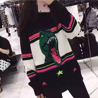 Wholesale Dinosaur Sweaters - Dinosaur five-star polychromatic striped wool blended with men and women lovers of paragraph sweater
