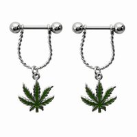 Wholesale Nipple Jewellery Piercing - 3pairs 2016 Fresh Summer Style Green Leaf Nipple Piercing, Sexy Bar Rings Jewelry Creative Punk Body Jewellery Women Men Gift