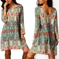 Wholesale 2016 Fashion Summer Vintage Ethnic Dress Sexy Women Boho Floral Printed Casual Beach Dress Loose Sundress