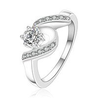 Wholesale Cheap Diamond Wedding Rings Set - Wedding Rings Women Vintage CZ Diamond Jewelry For Girls Silver Ring Female Quality Accessories Cheap Quality Valentines Day RG-034