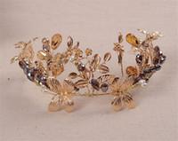Wholesale Vintage Crown Hair Pieces - Vintage Designer Wedding Bridal Bridesmaid Purple Crystal Rhinestone Pearl Gold Flower Hair Accessories Headband Crown Tiara Jewelry Pieces