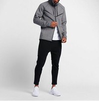 Wholesale Running Sports Jacket - 2017 new autumn winter Large size MEN'S HOODIE SPORTSWEAR TECH FLEECE WINDRUNNER fashion leisure sports jacket running fitness jacket coat