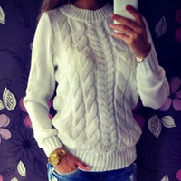 Wholesale Autumn Winter Women Sweaters And Pullovers Plus Size Long Sleeve Knitted Sweater Round Neck Women s Twisted Sweaters