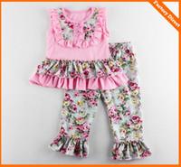 Wholesale Tshirt Lace Girl - Baby girl summer clothes girls ruffle pants sets kids tutu lace tops tshirt + floral pants 2pcs suit children boutique outfits