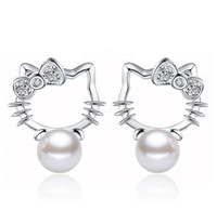 Wholesale Crystal Kitty Cat Earrings - Conch Pearl Stud Earrings Crystal Halo Cat Bohemian Kitty 925 Sterling Silver Stud Wedding Earrings For Women Korean Jewelry Brand New Hot