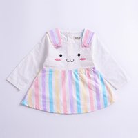 Wholesale Rainbow Long Sleeve Dresses - baby clothing Autumn Cartoon Girls Princess Dress Fall Rainbow Stripe Rabbit Long Sleeve Kids Dress Cute Bunny Toddler Dresses C1985