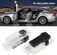 proyector de coche led audi proyector al por mayor-2 unids Shadow LED Logo de la Puerta del Coche Bienvenido Lámpara de Luz del Proyector para Audi A4 A6 A8 LED Luz de la puerta del coche para Audi Logo Power Light