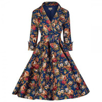 Wholesale Pinup Floral Dress - 2016 Womens Audrey Hepburn Style Sexy Pinup Rockabilly Elegant Vintage 1950s Floral Print Belted Tunic Draped Flare Skater Dress
