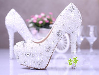 Wholesale High 14 Cm - 2016 Blingbling Pumps High Heeled Wedding party Shoes Lace Pearls Rhinestones Beaded 10 cm 14 cm