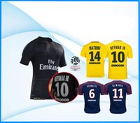 Wholesale Home Wearing - NEYMAR JR 10 MBAPPE CAVANI DI MARIA VERRATTI DANI ALVES Shirt Home blue Away Third black 17 18 Soccer Jerseys Football Uniforms wear