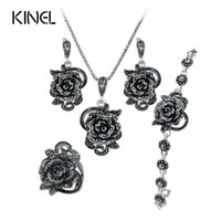 Wholesale Antique Jade Rings - Hot Roses Jewelry Set For Women Antique Silver Color Wedding Ring And Necklace Earrings Bracelet 4pcs Vintage Jewelry Sets