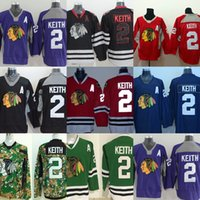 Wholesale Cheapest Camo - Mens Chicago Blackhawks 2 Duncan Keith Purple Black Red Blue Green Camo Cheapest Best Quality Ice Hockey Jerseys Size S-3XL For Sale